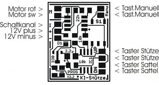 Ki-Stütze / Schematische Darstellung der Beschaltung der Platine